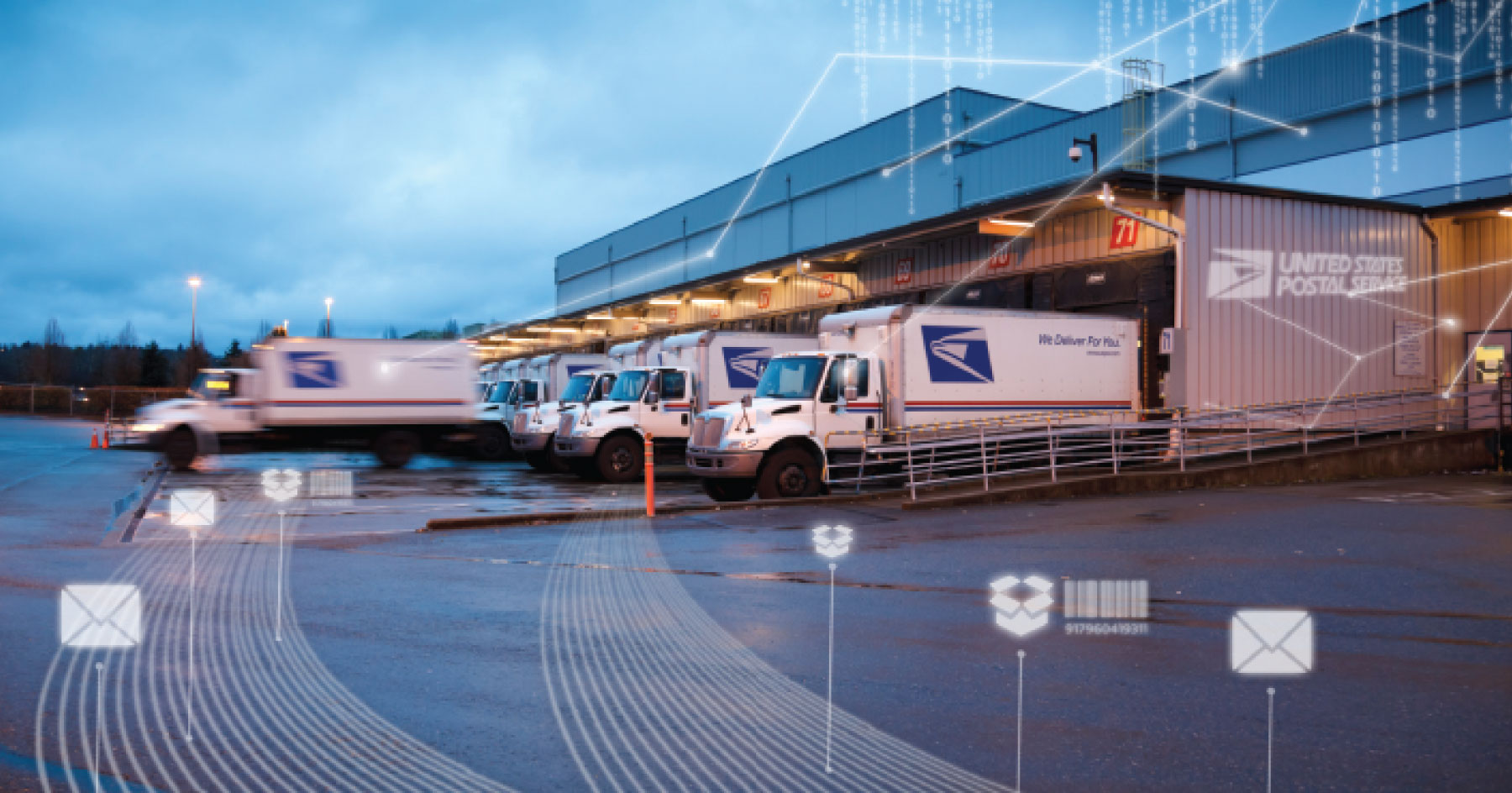 USPS trucks at facility